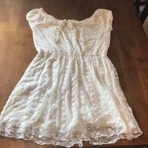 Cream dress with embroidered lace